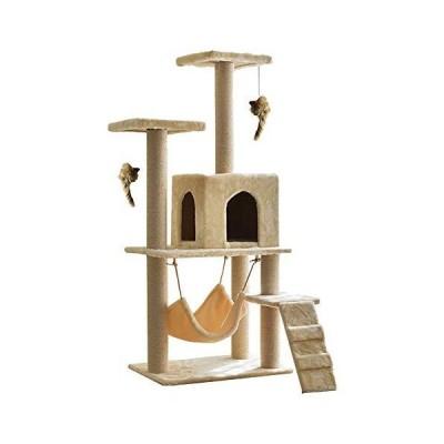 サンパーシー 階段付 猫タワー キャットタワー キャット ハンモック タワー 麻紐 頑丈 爪とぎ 遊び場 玩具 大型 ネコタワー (ベージュ