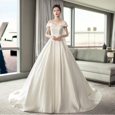 ウェディングドレス ウェディングドレス白 パーティードレス セクシー露背 花嫁ロングドレス 結婚式 トレーンライン 二次会 エレガント お呼ばれ 挙式hs5750