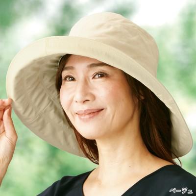 たためる 綿麻 つば広UVカット帽子 L