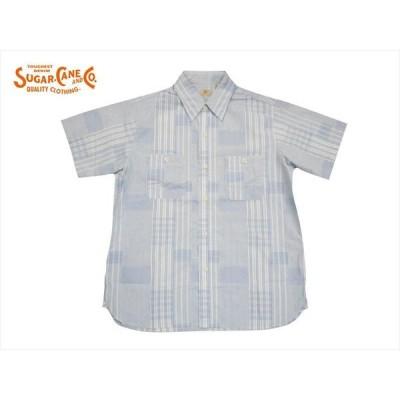 SUGAR CANE シュガーケーン 半袖シャツ SC38432 カット ドビー 半袖ワークシャツ ライトブルー