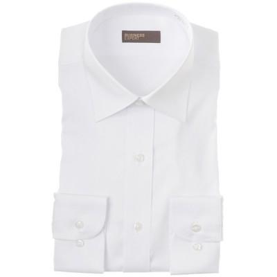 BUSINESS EXPERT メンズ 【在庫限り】形態安定透け防止 ワイドカラーシャツ(レギュラーシルエット) ホワイト 首回り43cm×裄丈86cm