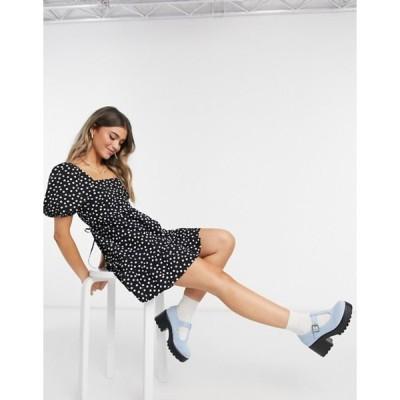 ミスセルフフリッジ レディース ワンピース トップス Miss Selfridge poplin smock mini dress in black spot