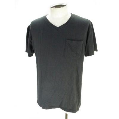 【中古】ラフアンドラゲッド ROUGH AND RUGGED Tシャツ カットソー 半袖 Vネック 胸ポケット 無地 黒 ブラック S メンズ 【ベクトル 古着】