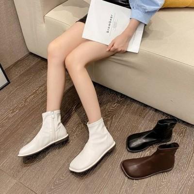 ショートブーツ レディース ぺたんこ シューズ 靴 フラット シンプル 無地 黒 白 茶色 レザー アンクルブーツ ぺたんこ靴 ローヒール 個性的 おしゃれ かわいい