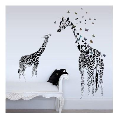 ウォールステッカー キリンの親子 バタフライ 壁画 アートデカール 黒基調 モダン 動物 簡単 DIY
