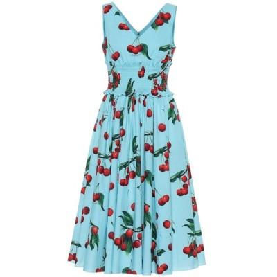 ドルチェ&ガッバーナ Dolce & Gabbana レディース ワンピース ワンピース・ドレス Cherry printed cotton dress Ciliegie Fdo Azzurro