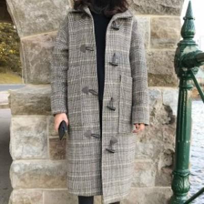 レディース NEW 冬 コート ロング丈 ラグランスリーブ ダッフルコート カジュアル 通勤 女子会 可愛い デート hf1299