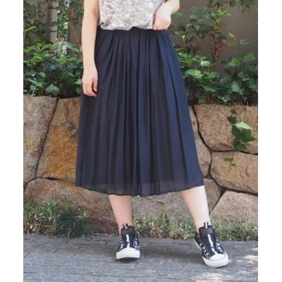 【インタープラネット】 シルキーローンギャザースカート レディース ネイビー 002 INTERPLANET