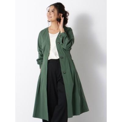 【大きいサイズ】ストレッチタックフレアロングシャツコート 大きいサイズ アウター レディース