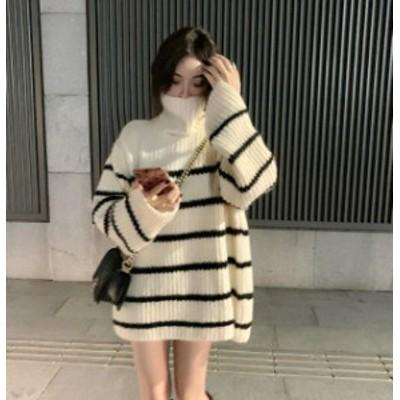 韓国 ファッション レディース ニット セーター トップス ボーダー ハイネック リブ 長袖 ゆったり カジュアル シンプル 秋冬