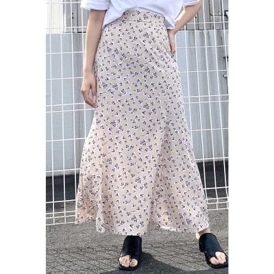 マーガレット柄マーメイドラインスカート ベージュ×フラワー1