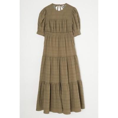 TUCKED SLEEVE TIERED ドレス