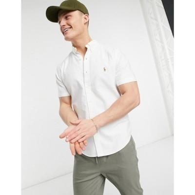 ラルフローレン メンズ シャツ トップス Polo Ralph Lauren classic oxford player logo short sleeve shirt button down custom regular fit in white