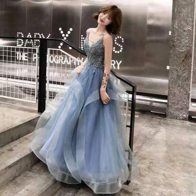 パーティードレス 安い 可愛い イブニングドレス ロングドレス エレガント 結婚式ドレス きれい 大人 ふわふわ キャミ キャバ