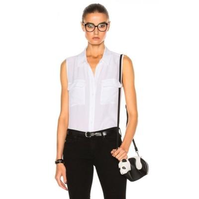 エキプモン Equipment レディース ノースリーブ トップス slim signature top Bright White