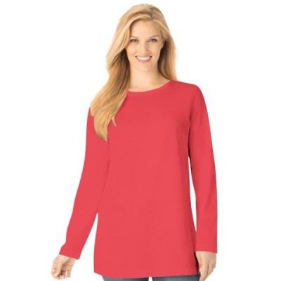 レディース 衣類 トップス Woman Within Women's Plus Size Perfect Crewneck Long Sleeve Tee Tシャツ