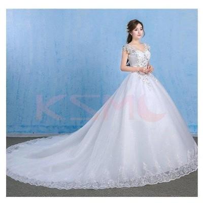 ウェディングドレス 結婚式 二次会 ホワイト 花嫁 ウェディング プリンセスドレス 白ドレス ロングドレス 披露宴   編み上げ  引き裾