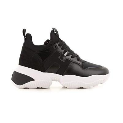 Hogan Luxury Fashion Woman HXW5250CH20MSZB999 Black Leather Sneakers   Season Permanent 並行輸入品
