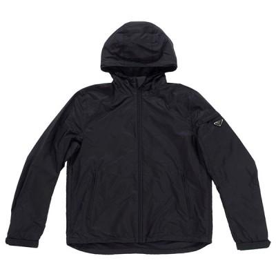 PRADA プラダ Giubbotto SGB119 Q04 F0002 メンズ ジャケット ジップアップ フード ブラック 黒 アウター 羽織 ロゴ ワンポイント ジップポケット(prd0042)