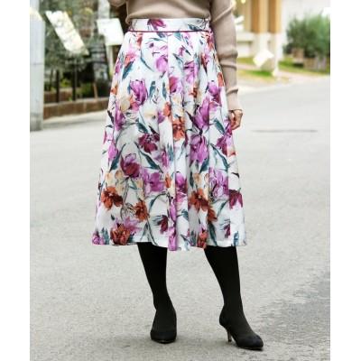 【ペルルペッシュ】 eclat フラワータックギャザースカート レディース オフ/柄 36 Perle Peche