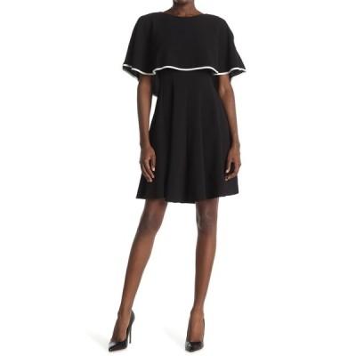 ガビースカイ レディース ワンピース トップス Crepe Capelet A-Line Dress BLACKIVORY