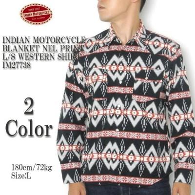 INDIAN MOTORCYCLE (インディアン モーターサイクル) ブランケット ネルプリント 長袖ウエスタンシャツ IM27738