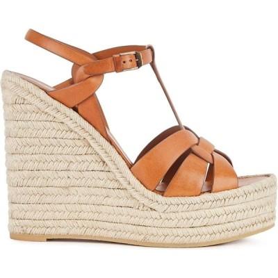 イヴ サンローラン Saint Laurent レディース サンダル・ミュール ウェッジソール シューズ・靴 Tribute 125 Brown Leather Wedge Sandals Brown