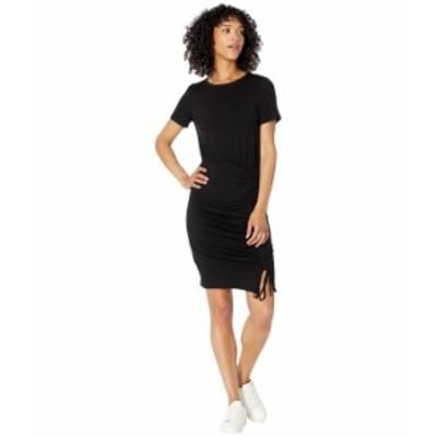 カルバンクライン レディース ワンピース トップス Short Sleeve Blouson Dress with Ruched Detail Black