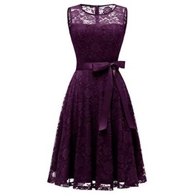ドレッシースター レディース フレアーレースワンピース 結婚式 ドレス ひざ丈 ノースリーブ リボン付け お呼ばれ 二次会 ブドウ Lサイズ