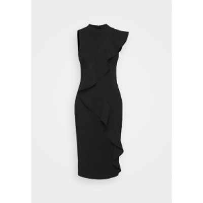 アドリアナ パペル レディース ワンピース トップス STRETCH WOVEN RUFFLE DRESS - Cocktail dress / Party dress - black black