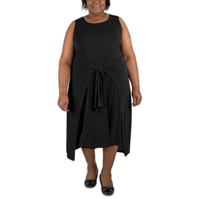 ロビービー ワンピース トップス レディース Plus Size Tie-Waist Shift Dress Black