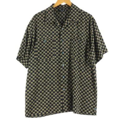 総柄 半袖 オープンカラー シルクシャツ メンズL /eaa164949