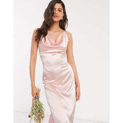 ティエフエヌシー レディース ワンピース トップス TFNC Bridesmaid satin maxi dress with cowl front in blush pink