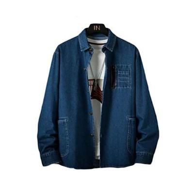 BeiBang(バイバン)デニムシャツ メンズ 長袖 シャツ デニム ゆったり カジュアルシャツ 無地 おしゃれ Gジャン綿