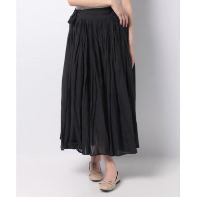【マーコート】 tuck flare skirt レディース ブラック f MARcourt