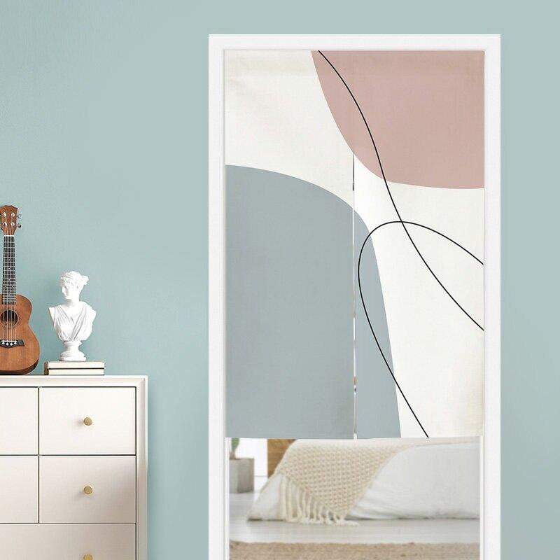 北歐簡約抽象莫蘭迪色塊門簾 隔斷簾 風水簾 尺寸可訂製 (寬80*高90cm)
