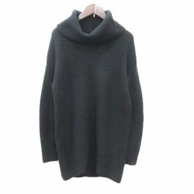 【中古】23区 オンワード樫山 ニット セーター チュニック タートルネック ウール 長袖 40 黒 ブラック レディース