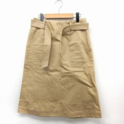 【中古】アダムエロペ Adam et Rope' スカート 膝丈 台形 チノスカート ベルト 無地 シンプル 38 ベージュ /ST2