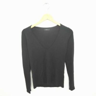 【中古】コムサイズム COMME CA ISM ニット セーター Vネック 無地 シンプル ウール混 長袖 M 黒 ブラック /TT6