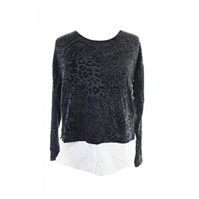 ケンジー レディース セーター(プルオーバー型) Kensie Charcoal Long-Sleeve Animal Swirl Contrast-Hem Top M