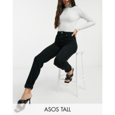 エイソス レディース デニムパンツ ボトムス ASOS DESIGN Tall high rise original mom jeans in black Black