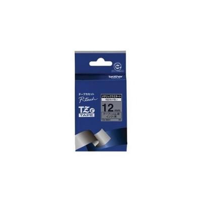 ds-2138765 (まとめ)ブラザー ピータッチ TZeテープメタリックテープ 12mm 銀(つや消し)/黒文字 TZE-M931 1個【×5セット】 (ds2138765)