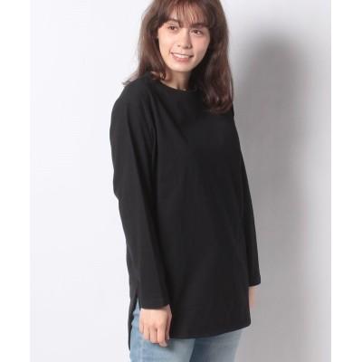 (ANTIQULOTHES/アンティクローズレディース)USAコットン重ね着可能バックスリットロングTシャツ/レディース BLACK