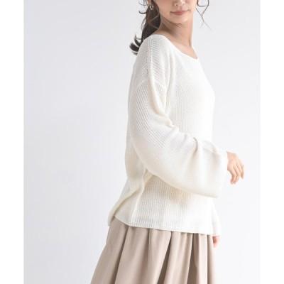 【アールピーエス】透かし柄編みニットプルオーバー