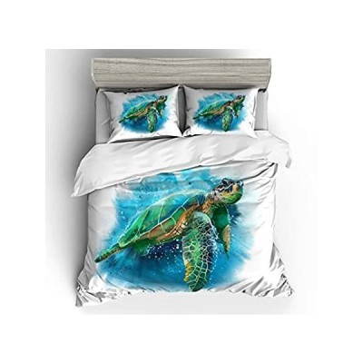 Vichonne ウミガメの寝具セット 子供用 ツインサイズ カラフルなビーチオーシャンタートル布団カバー3点セット 枕カバー2枚付き ティーンズ 男好評販売中