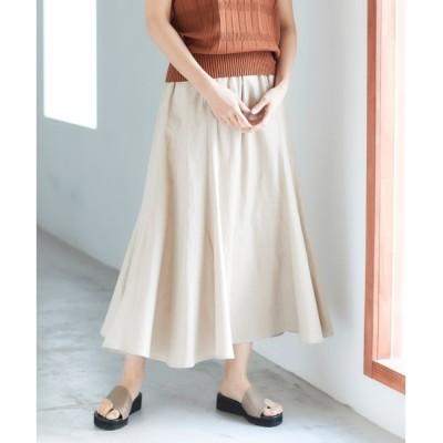 【ルクールブラン/le.coeur blanc】 レーヨン麻コーティングウォッシュフレアスカート