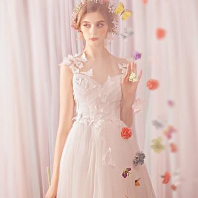 ウエディングドレス aライン 白 安い ウェディングドレス 花嫁 結婚式  パーティードレス  披露宴  二次会 ブライダル ロングドレス イブニングドレス ドレス