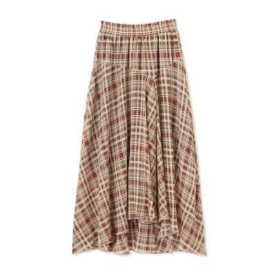 《Sシリーズ対応商品》チェック柄楊柳イレヘムフレアスカート