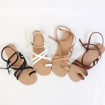 サンダル レディース フラット アンクルストラップ サムリング シンプル ぺたんこ ペタンコ 黒 ブラック ブラウン ホワイト ベージュ 靴 婦人靴