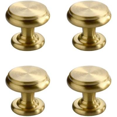 CUTOOP 4個入 真鍮 取っ手 中世のモダンなスタイル ブラッシュドブラス 引き出し つまみ キャビネット ハードウェア キッチン 化粧台 バスル